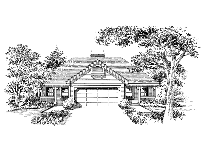 Ranch House Plan Front Image of House 007D-0095