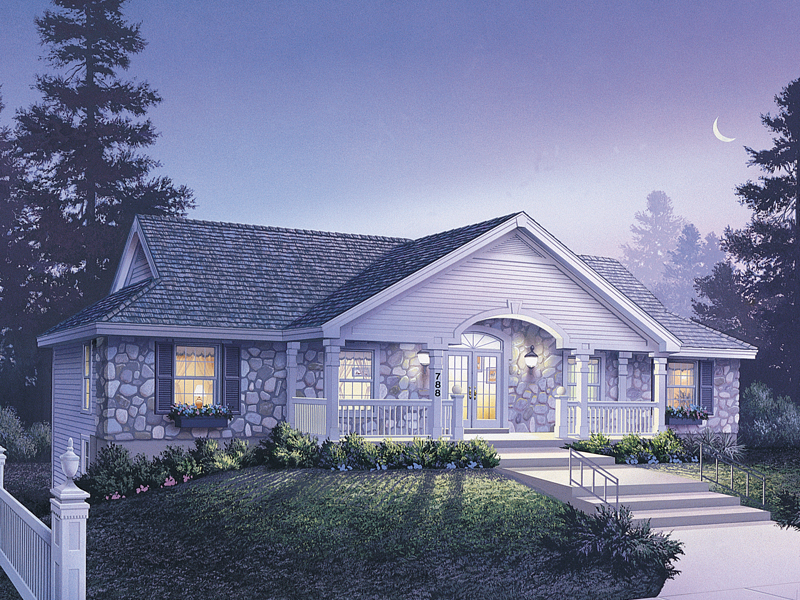 Ranch House Plan Front of Home 007D-0096