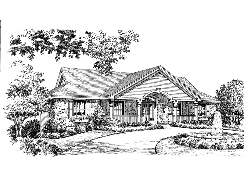 Ranch House Plan Front Image of House 007D-0096