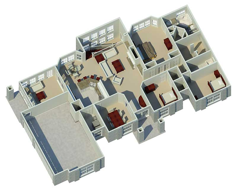 Ranch House Plan 3D First Floor 007D-0098
