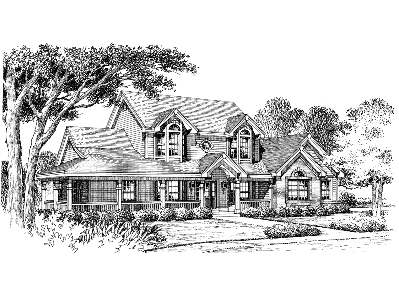 Traditional House Plan Front Image of House 007D-0100