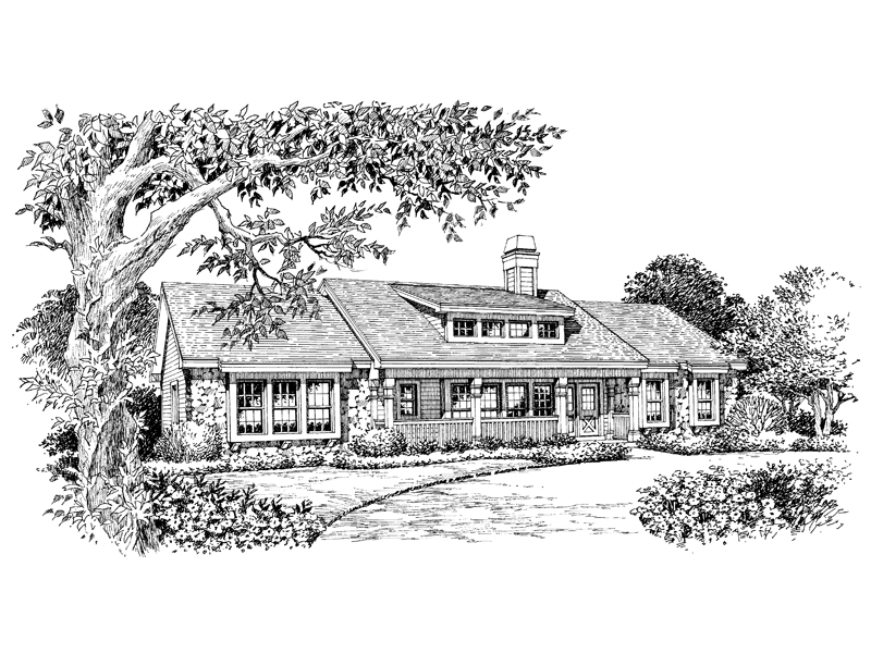 Ranch House Plan Front Image of House 007D-0101