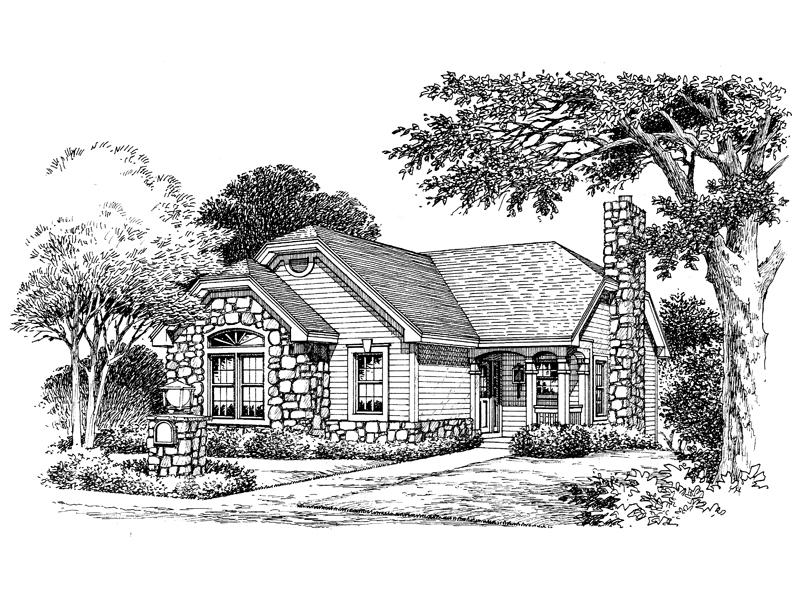 Cabin and Cottage Plan Front Image of House 007D-0103