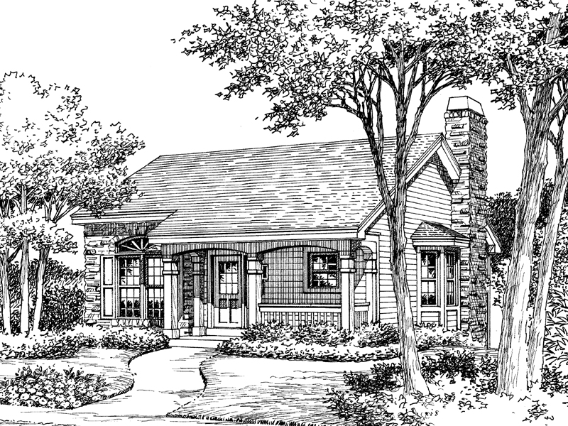 Vacation Home Plan Front Image of House 007D-0104