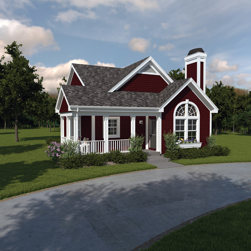 Vacation Home Plan Front of Home 007D-0105