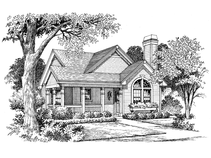 Traditional House Plan Front Image of House 007D-0105
