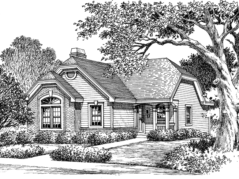 Ranch House Plan Front Image of House 007D-0106