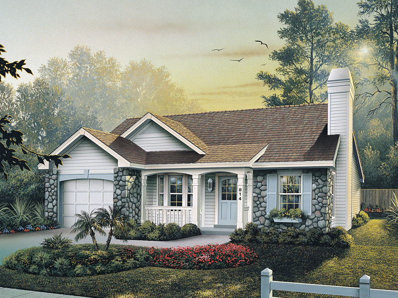 Vacation Home Plan Front of Home 007D-0110