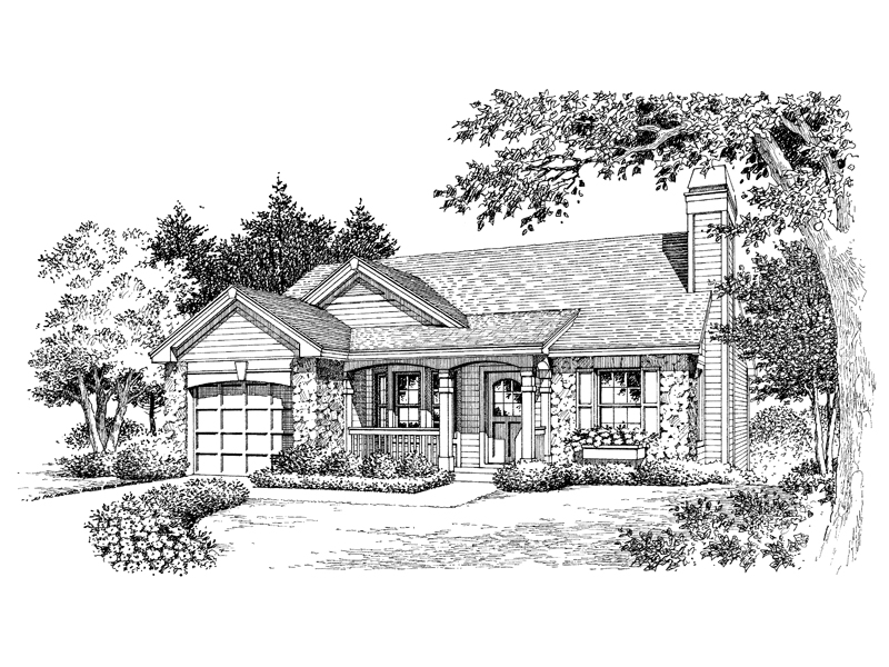 Cabin and Cottage Plan Front Image of House - 007D-0110 | House Plans and More