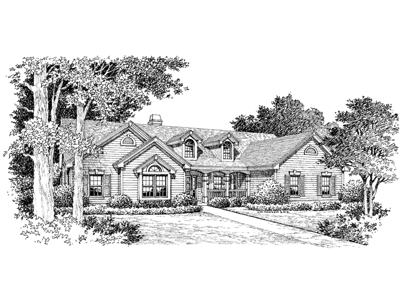 Traditional House Plan Front Image of House 007D-0113