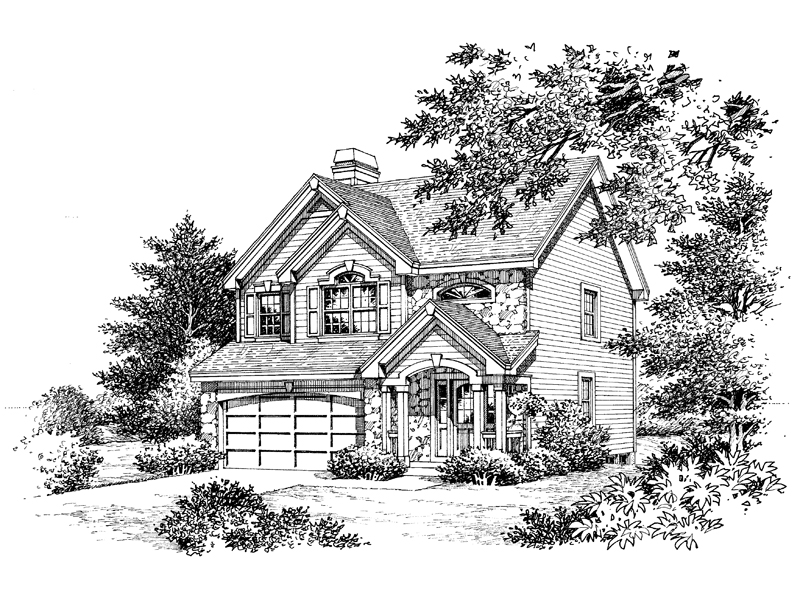 Traditional House Plan Front Image of House 007D-0114