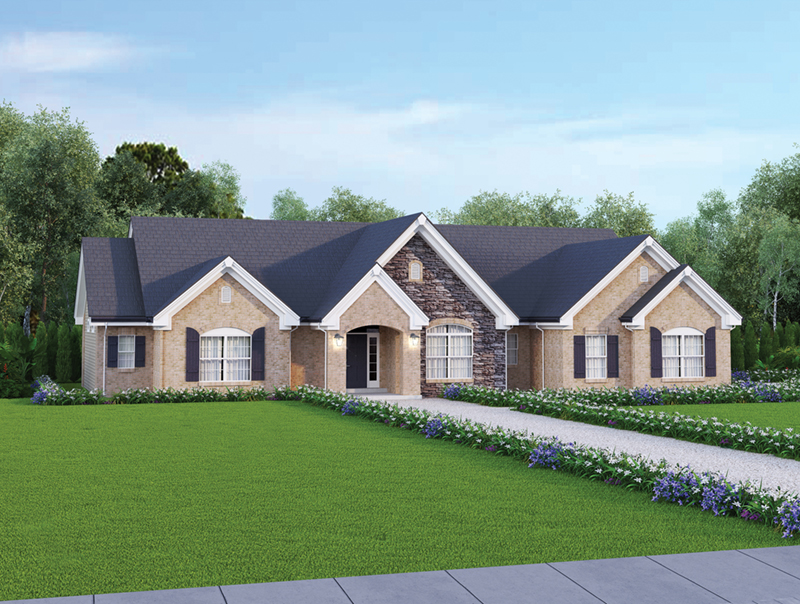 Ranch House Plan Front of Home 007D-0117