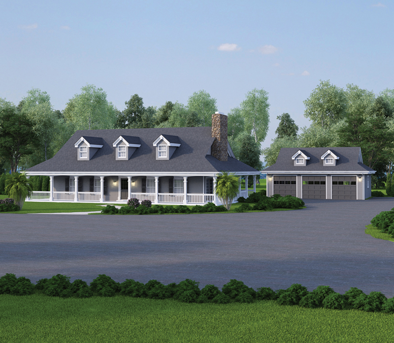 Farmhouse Plan Front of Home 007D-0124