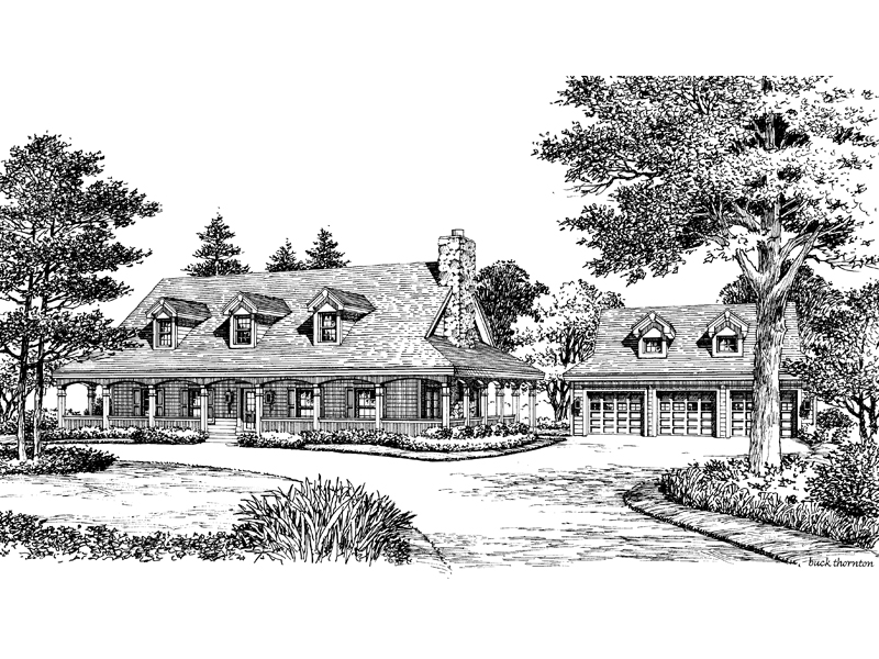 Ranch House Plan Front Image of House 007D-0124