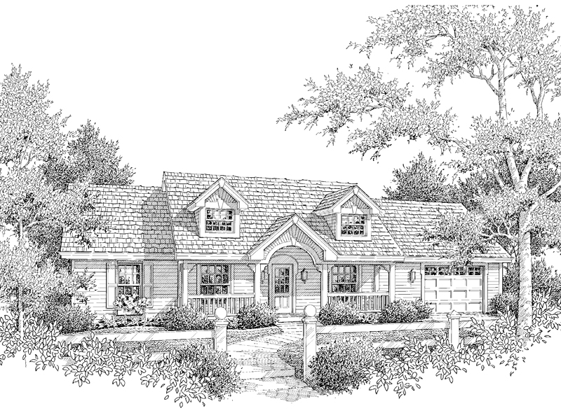 Ranch House Plan Front Image of House 007D-0126