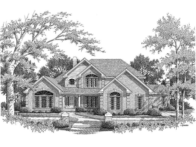 Traditional House Plan Front Image of House 007D-0132