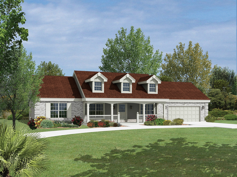 Foxmyer country ranch home plan 007d 0134 house plans for House plans with dormers and front porch