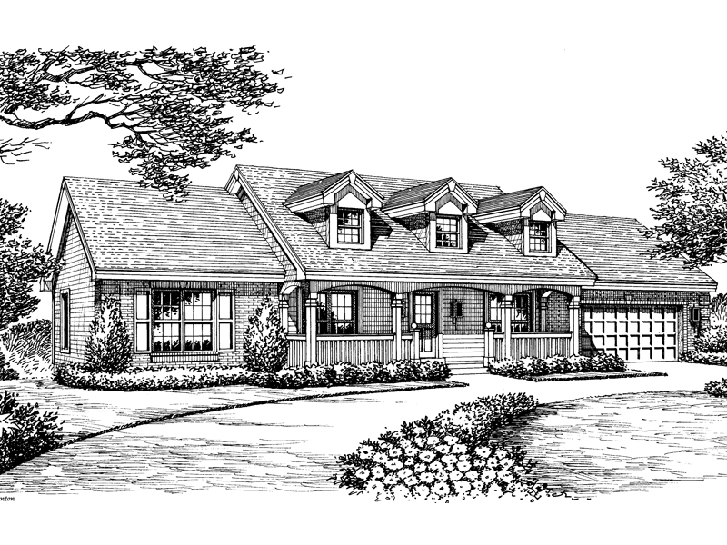 Country House Plan Front Image of House 007D-0134