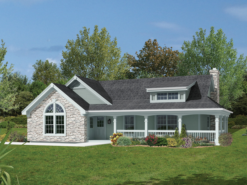 Country House Plan Front of Home 007D-0135