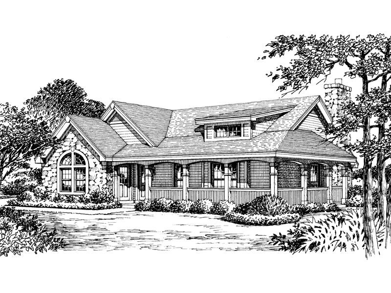 Country House Plan Front Image of House 007D-0135