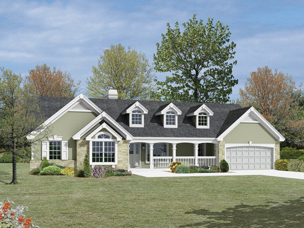 Foxridge country ranch home plan 007d 0136 house plans for One level ranch style house