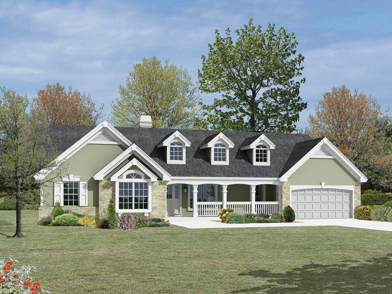 Ranch House Plan Front of Home 007D-0136