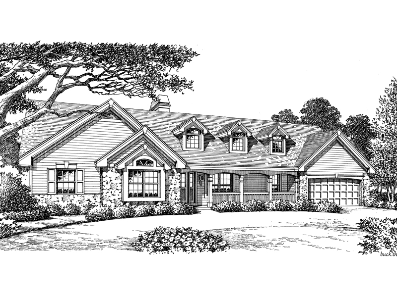 Ranch House Plan Front Image of House 007D-0136
