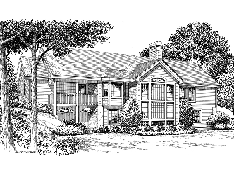Ranch House Plan Rear Image of House 007D-0136