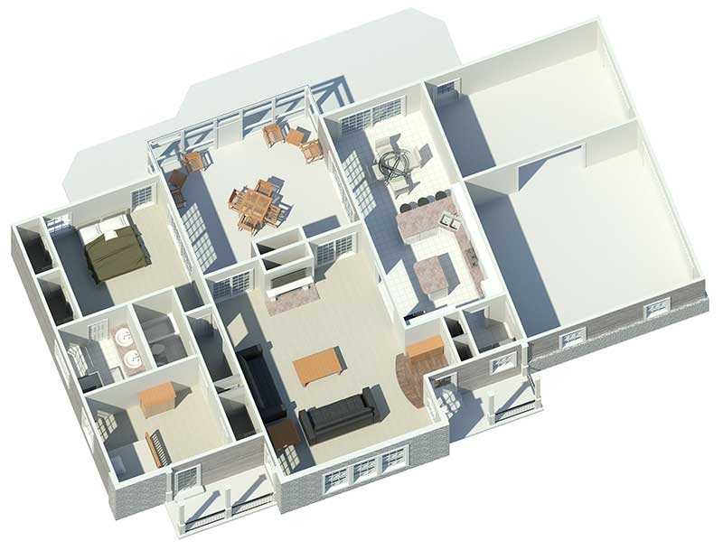 Cabin and Cottage Plan 3D First Floor 007D-0137