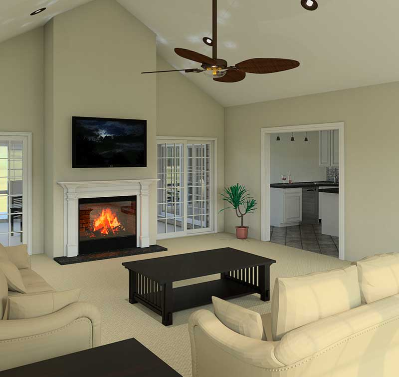 Ranch House Plan Great Room Photo 01 007D-0137