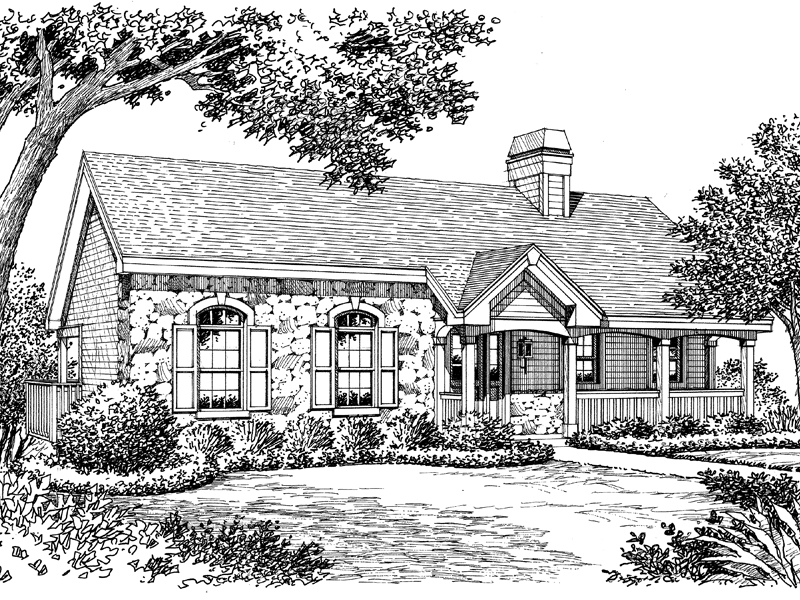 Cabin and Cottage Plan Front Image of House - 007D-0139 | House Plans and More