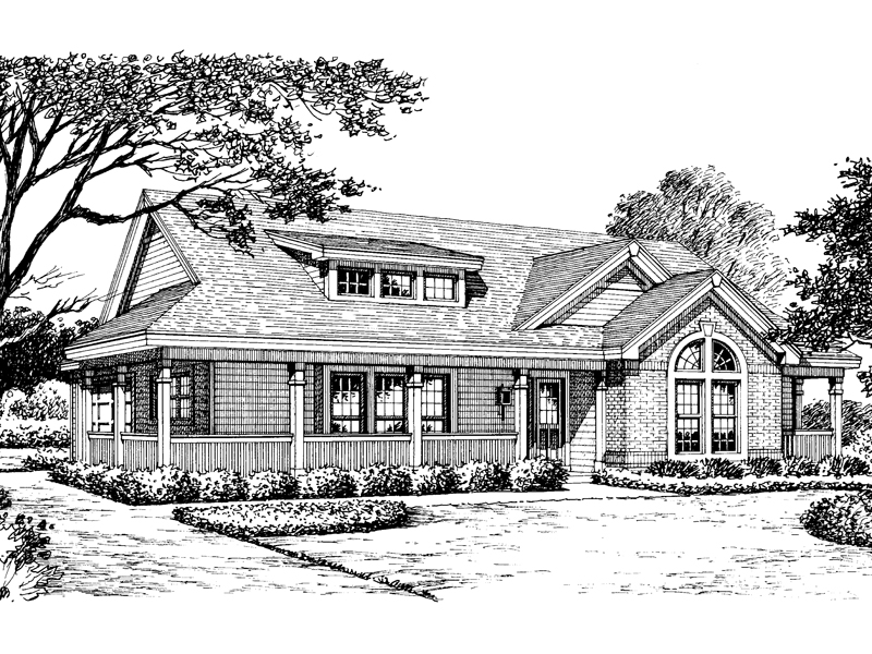 Bungalow House Plan Front Image of House 007D-0140