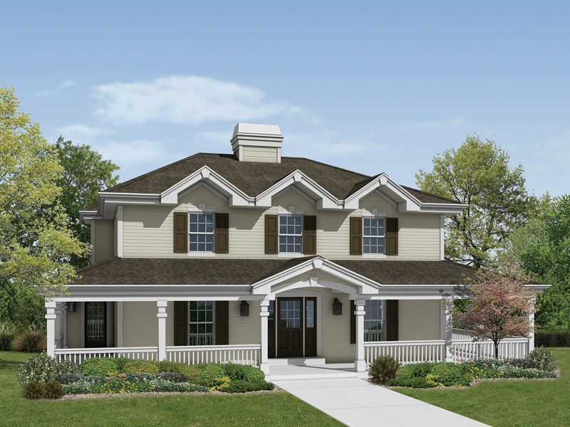 Greek Revival Home Plan Front of Home 007D-0141