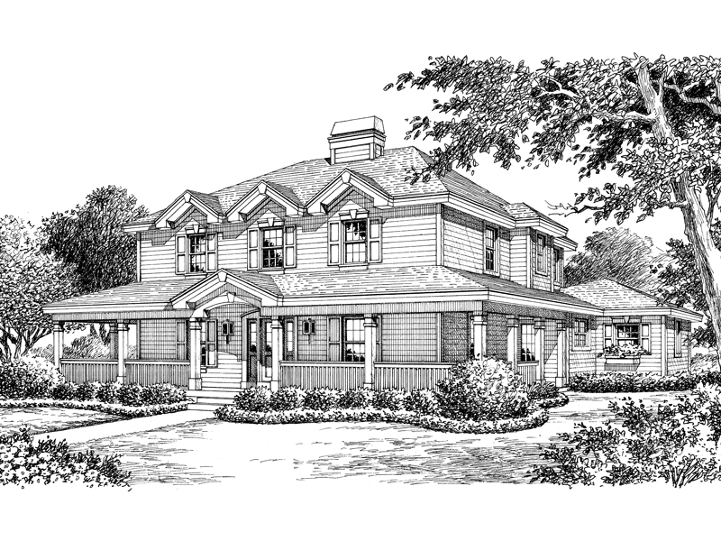 Traditional House Plan Front Image of House 007D-0141