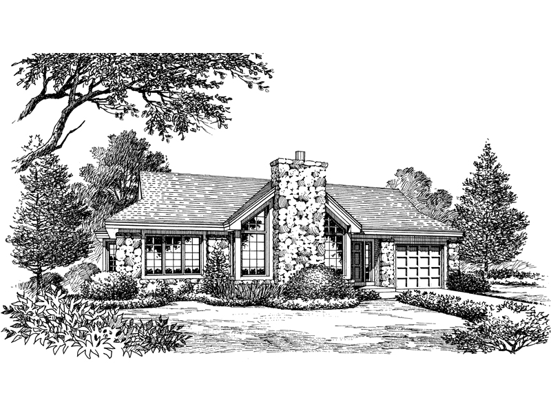 Ranch House Plan Front Image of House 007D-0143