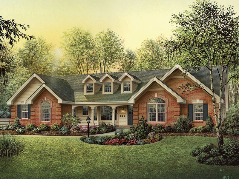 Oakbury ranch home plan 007d 0146 house plans and more for Brick ranch house plans