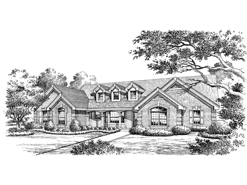 Traditional House Plan Front Image of House 007D-0146