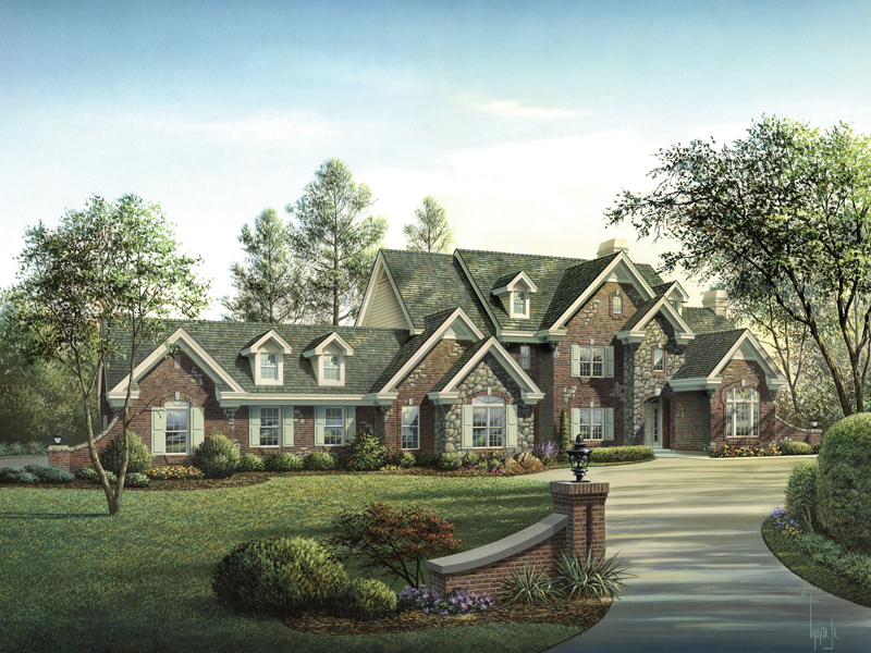 Country French Home Plan Front of Home 007D-0149