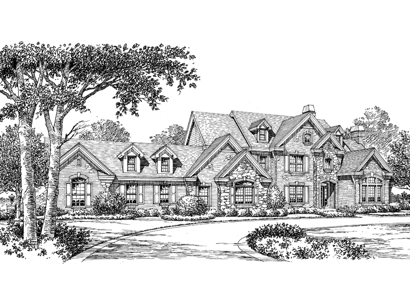 Country French Home Plan Front Image of House 007D-0149