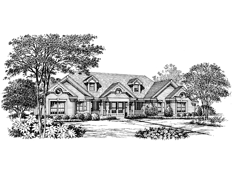 Ranch House Plan Front Image of House 007D-0150