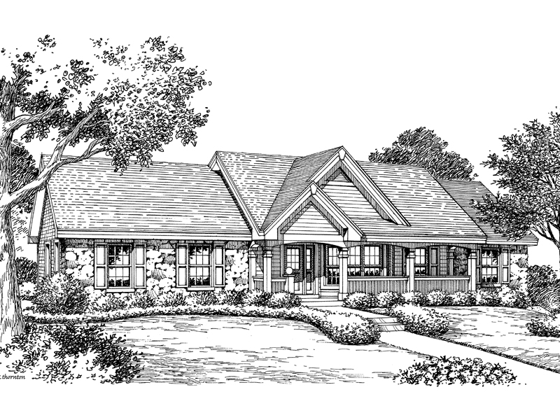 Traditional House Plan Front Image of House 007D-0151