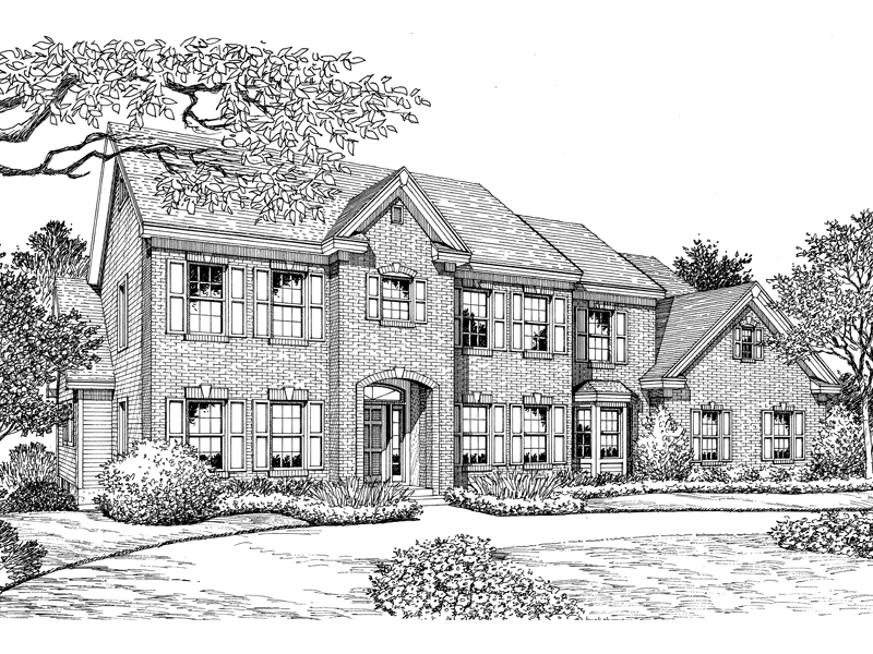 Georgian House Plan Front Image of House 007D-0153