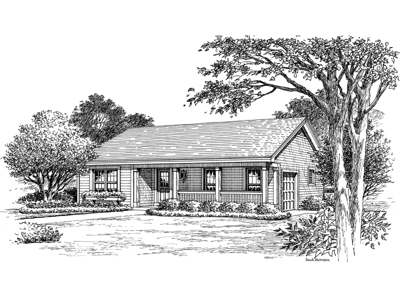 Traditional House Plan Front Image of House 007D-0154