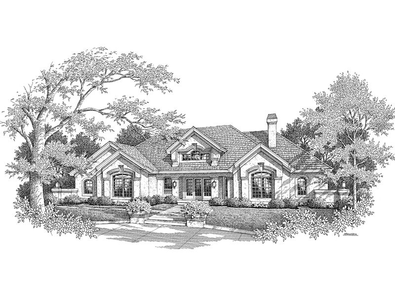 Southwestern House Plan Front Image of House 007D-0155