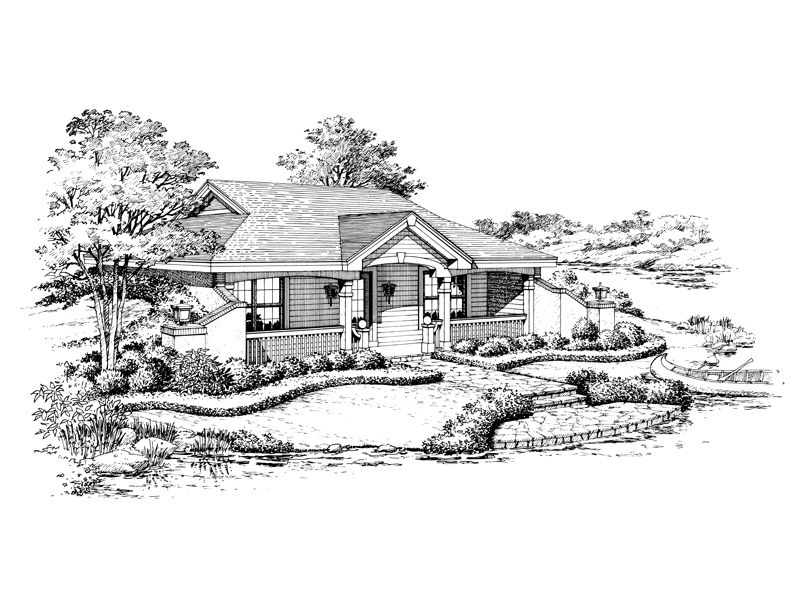 Vacation Home Plan Front Image of House 007D-0156