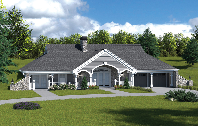 Berm Home Plan Front of Home 007D-0161