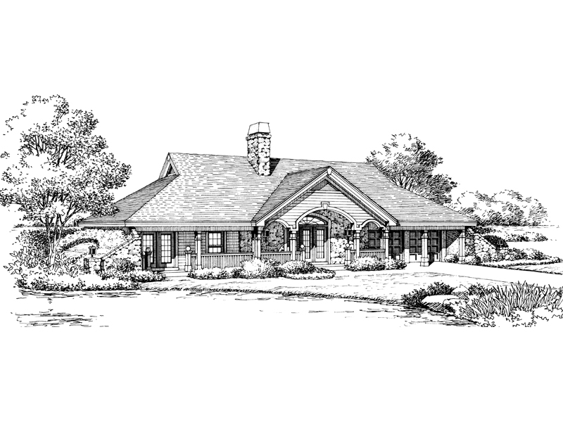 Traditional House Plan Front Image of House 007D-0161