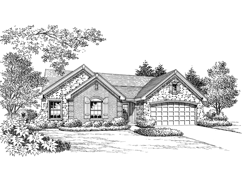 Ranch House Plan Front Image of House 007D-0162