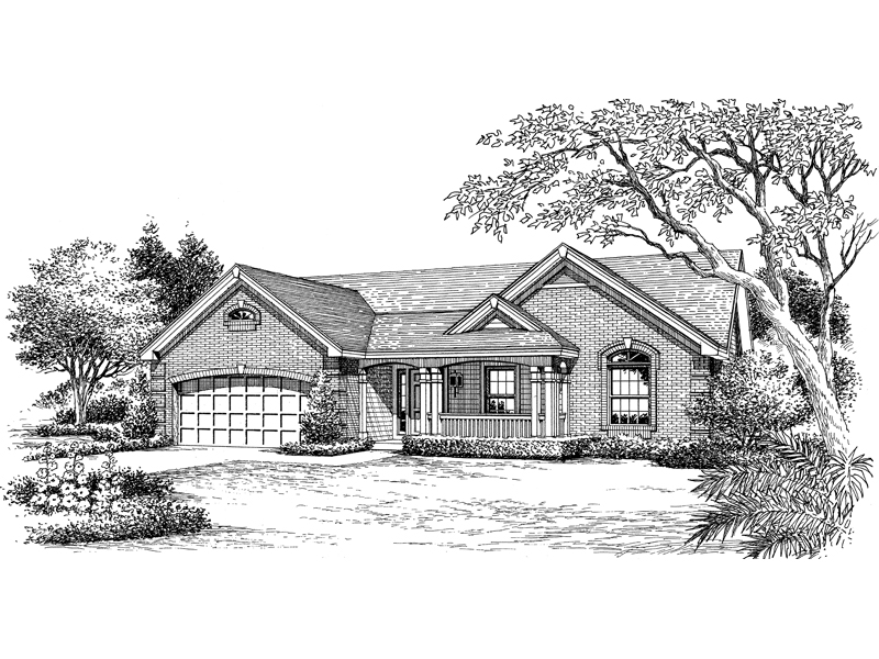 Ranch House Plan Front Image of House 007D-0163