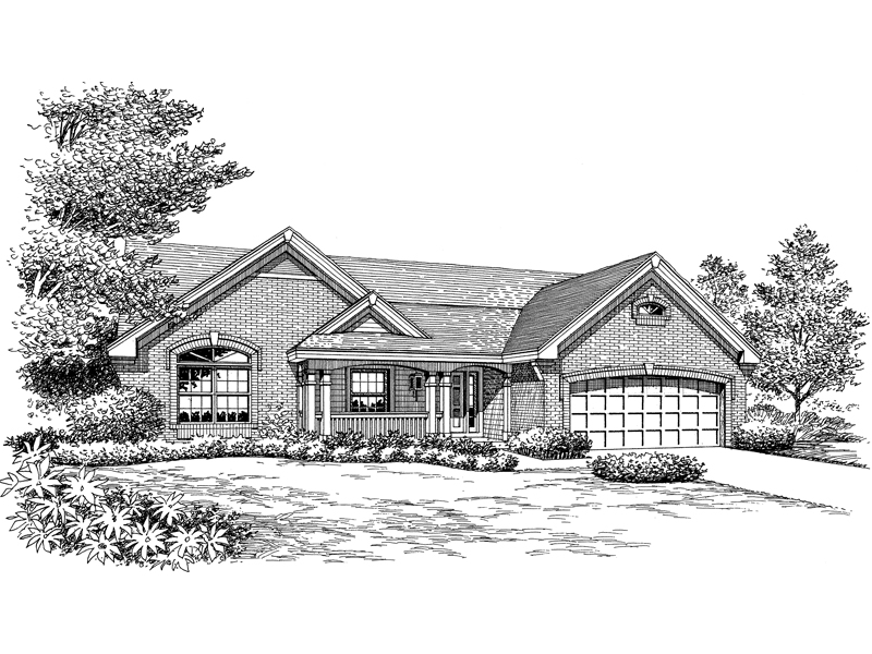 Ranch House Plan Front Image of House 007D-0164